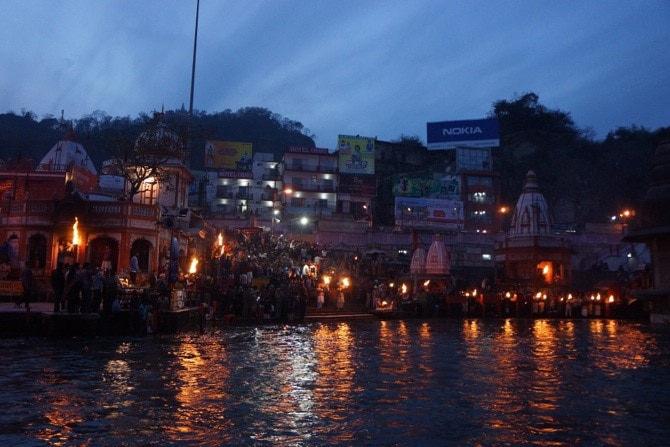 Evening puja along the banks of the River Ganga near Rishikesh in northern India